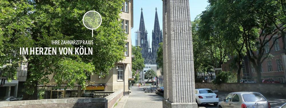 Blick auf die Praxis und den Kölner Dom